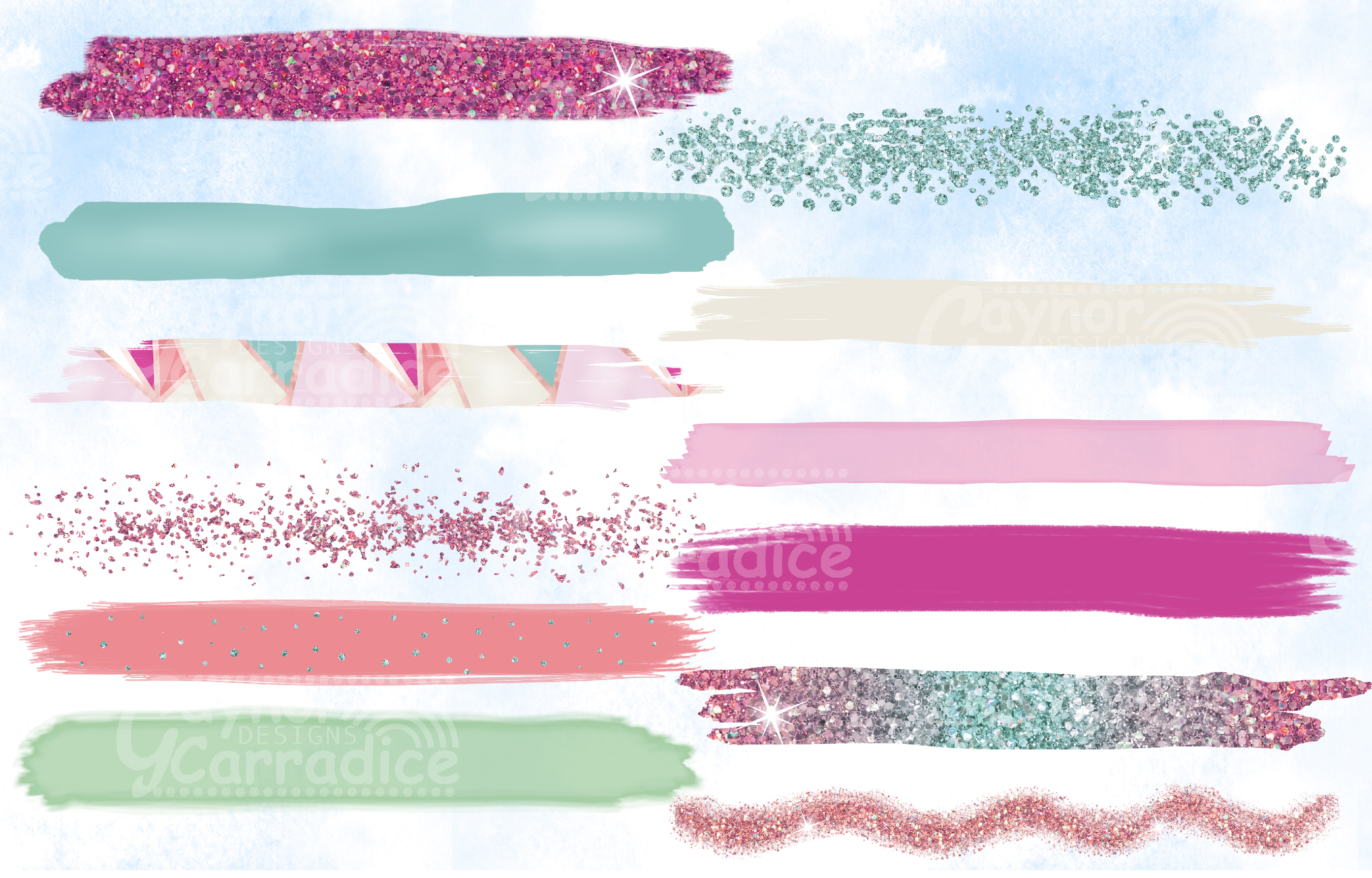 Pink and mint paint brush strokes collection example image 2