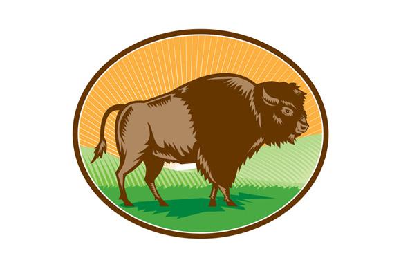 American Bison Oval Woodcut example image 1