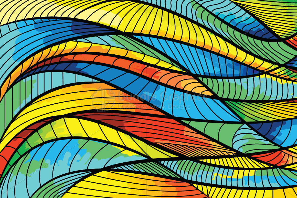 Linear Waves Vector Graphic Background example image 1
