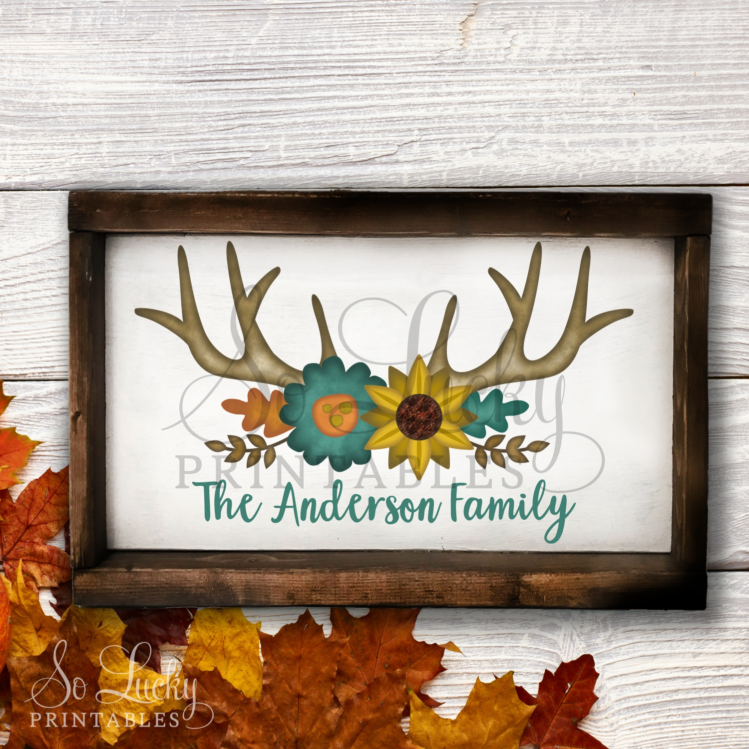 Fall deer antlers and flowers watercolor printable sublimati example image 2