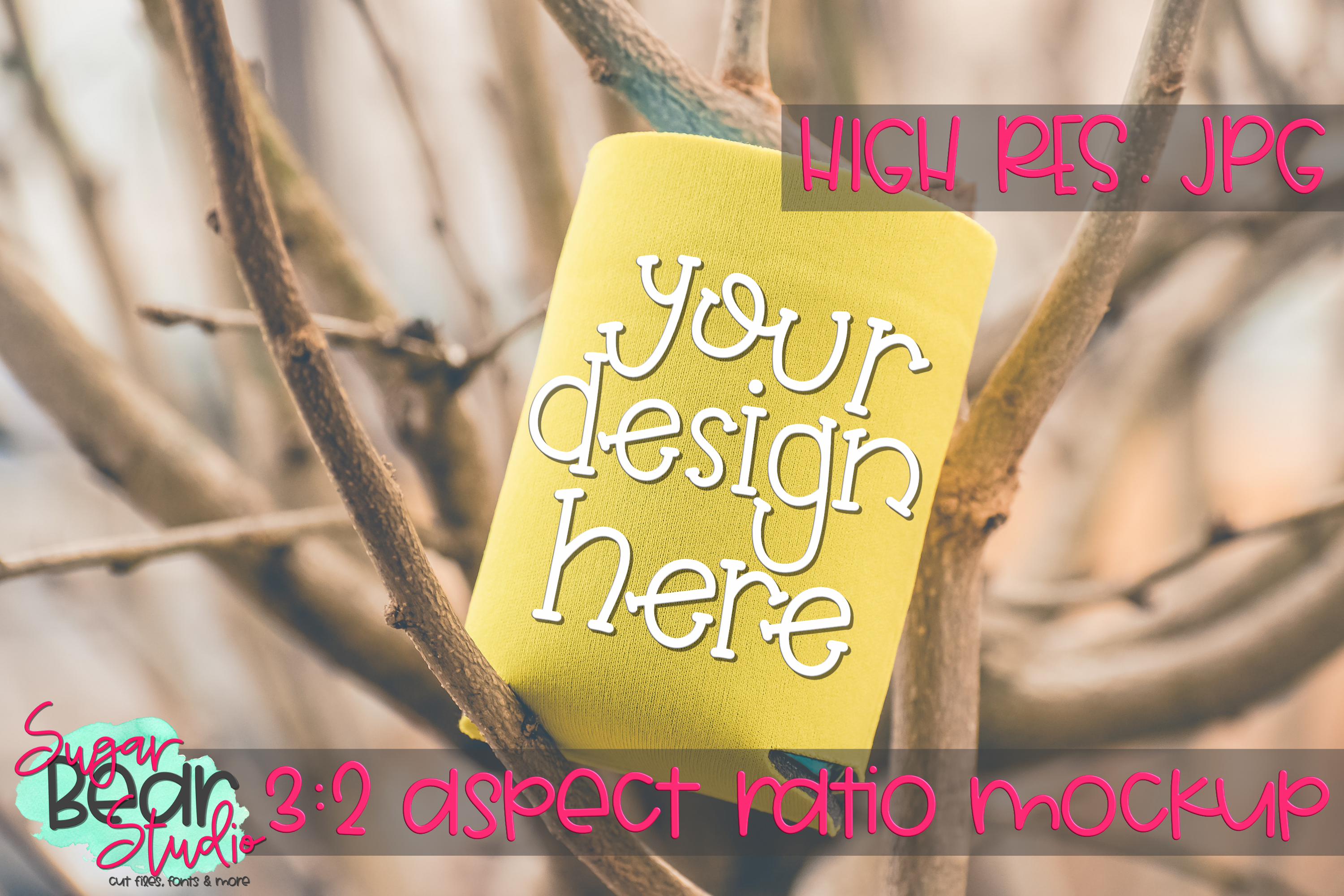 Yellow Can Holder in Tree Mockup example image 1