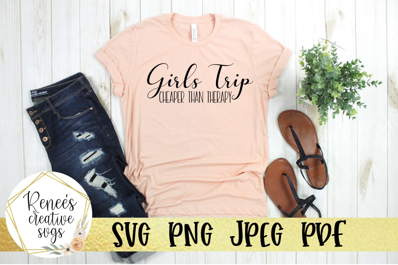 Girls Trip, Cheaper than therapy | Humor | SVG Cutting File example image 2
