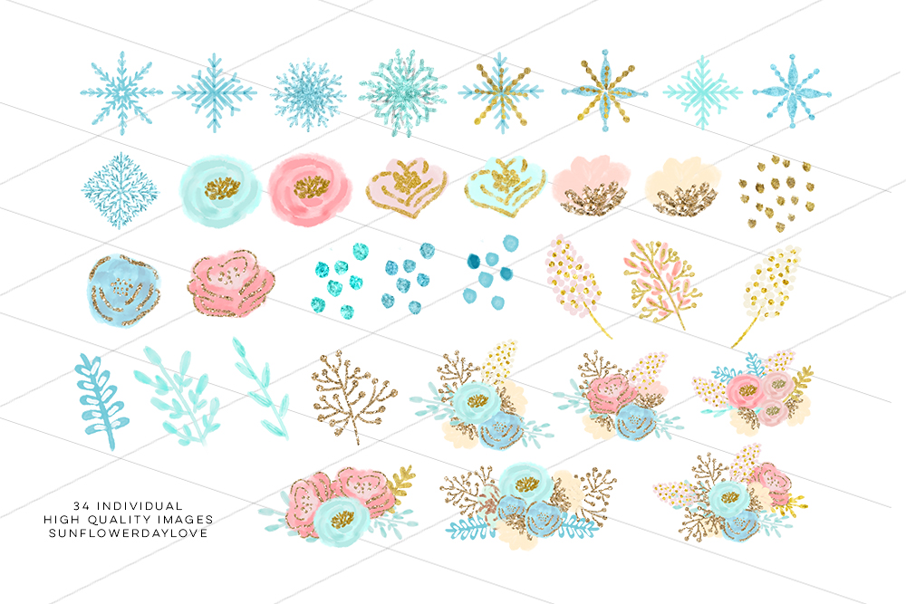 winter wonderland clip art, glitter snowflakes clip art example image 3