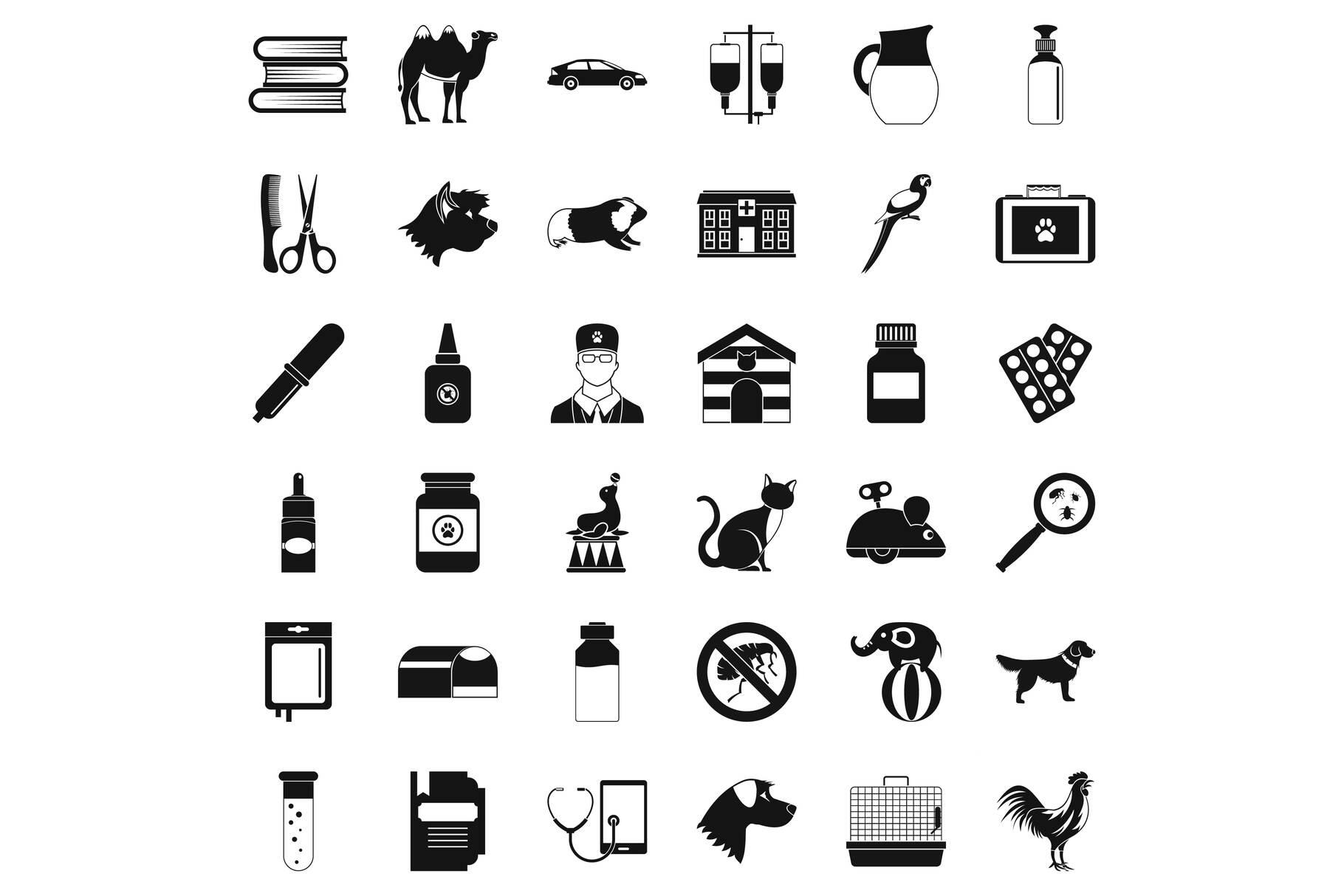 Veterinary illness icons set, simple style example image 1