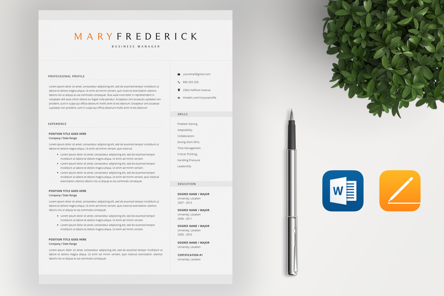 Resume Template   4 Pages   Cover Letter example image 2