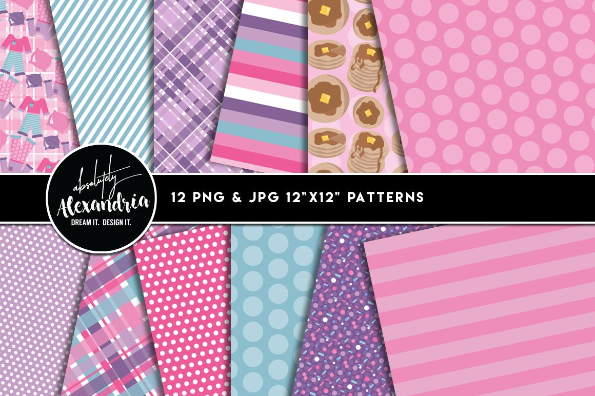 Pancakes & Pajamas Clipart Graphics & Digital Paper Patterns Bundle example image 2