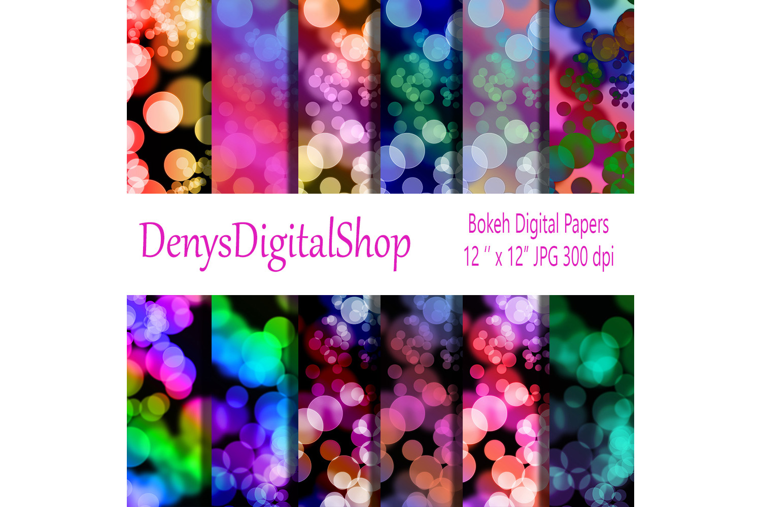 Bokeh Digital Scrapbooking Papers 12x12 inches example image 1