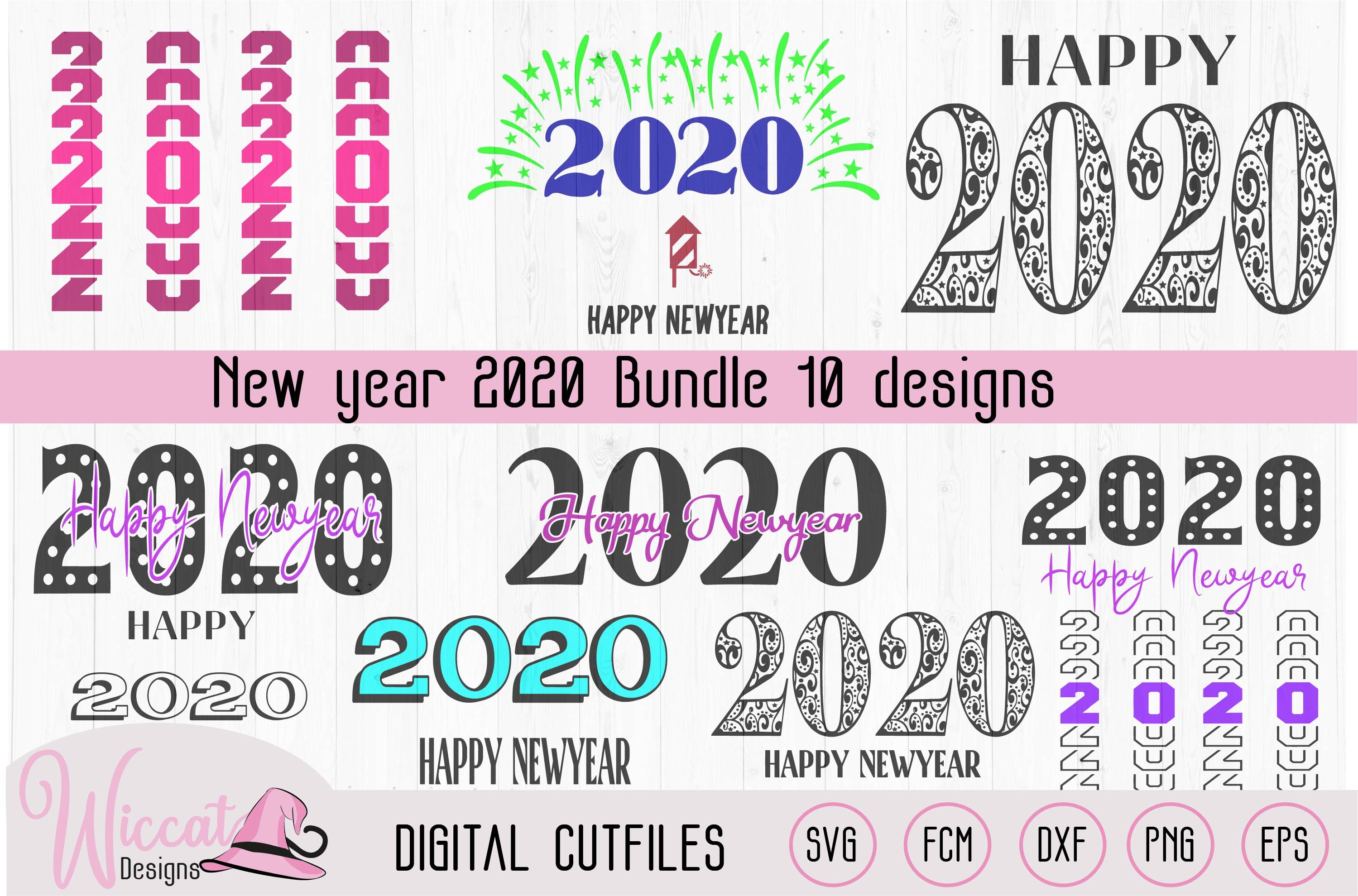 Happy new year 2020 word art example image 2