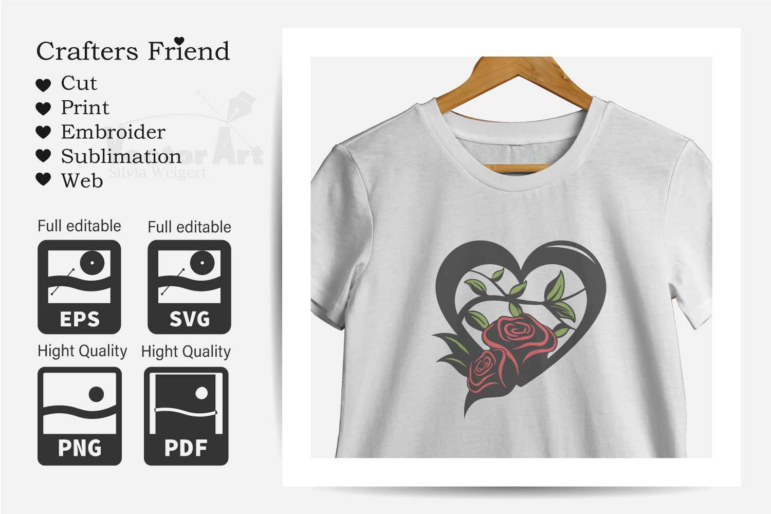 Heart with Roses - Love is everywhere - Print and Cut example image 4