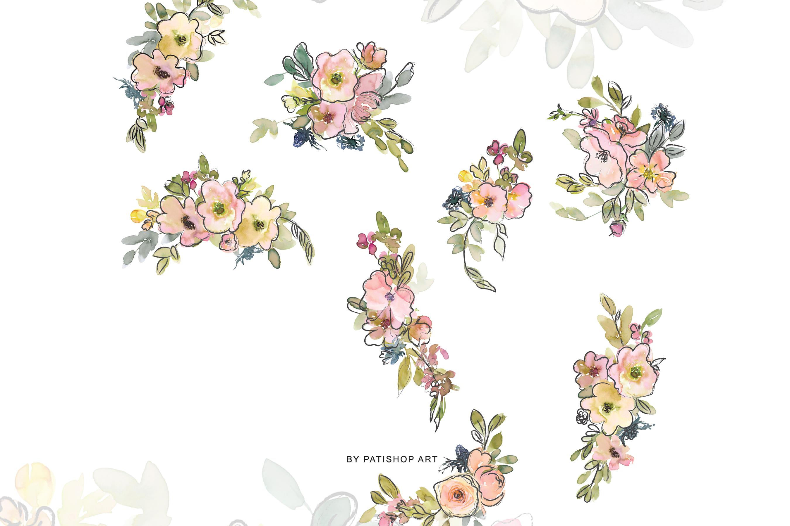 Watercolor Blush and Lemon Colors Floral Arrangements example image 10
