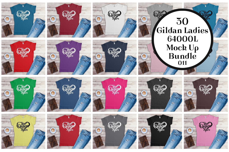 Gildan Ladies T-Shirt Mockup Mega Bundle Flat Lay 64000L example image 3