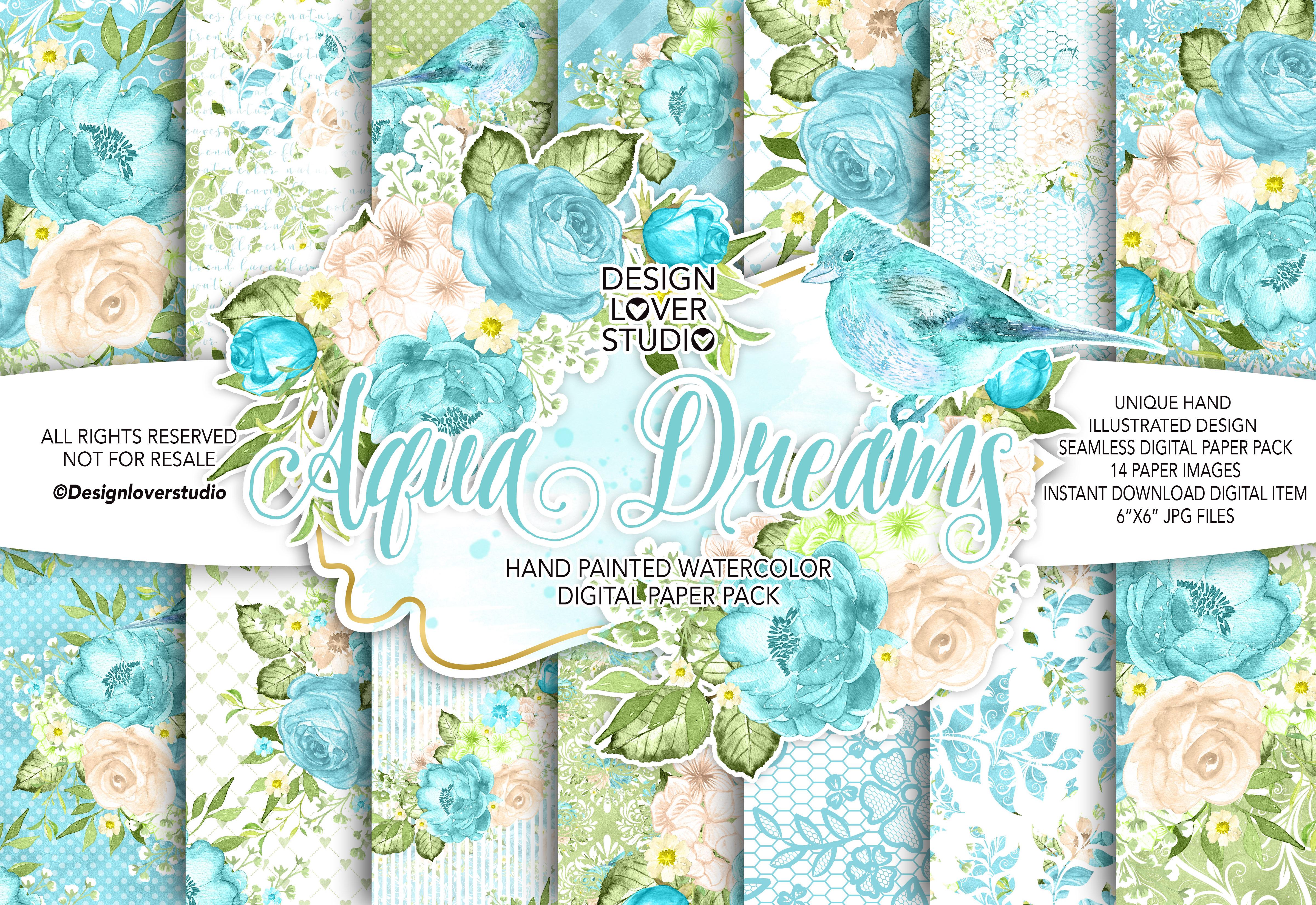 Watercolor AQUA DREAMS DP pack example image 1