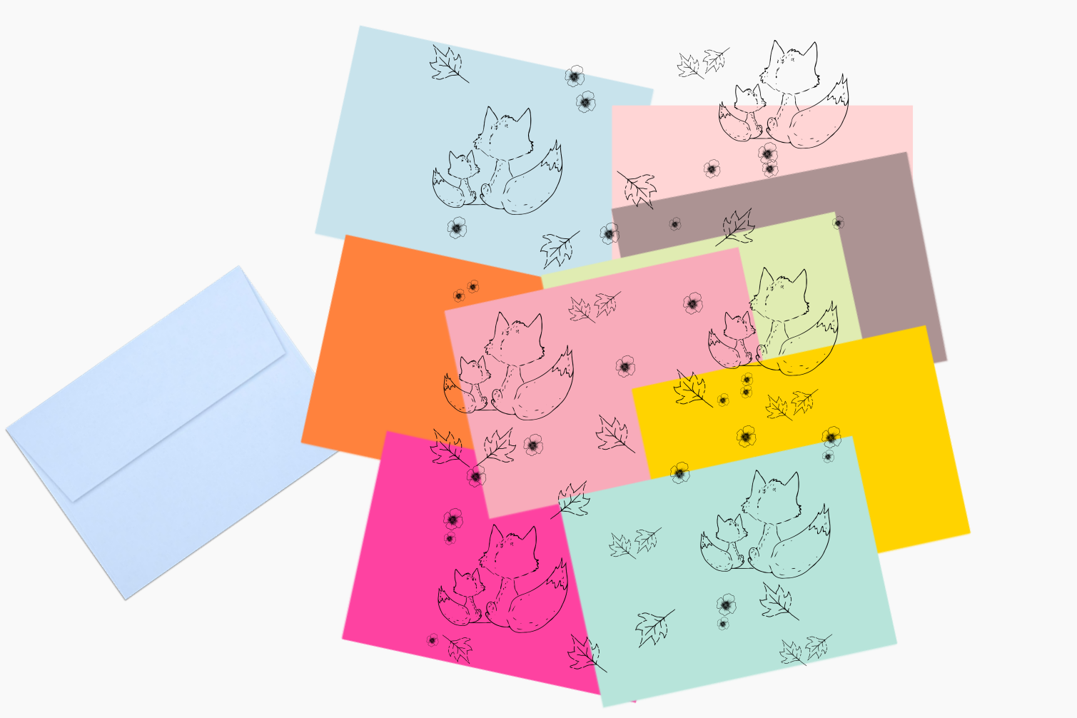 Fox and Flowers Doodle Pattern, A1, SVG example image 6