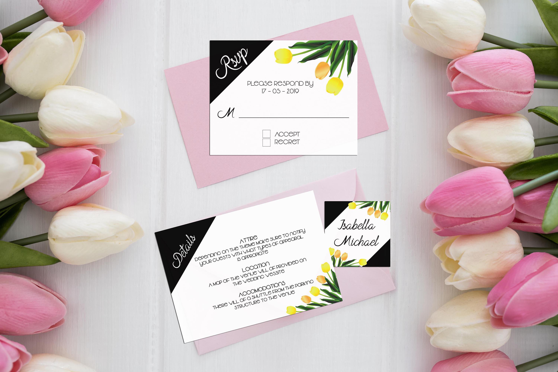 Asymmetric Tulips Wedding Invitation Kit example image 3