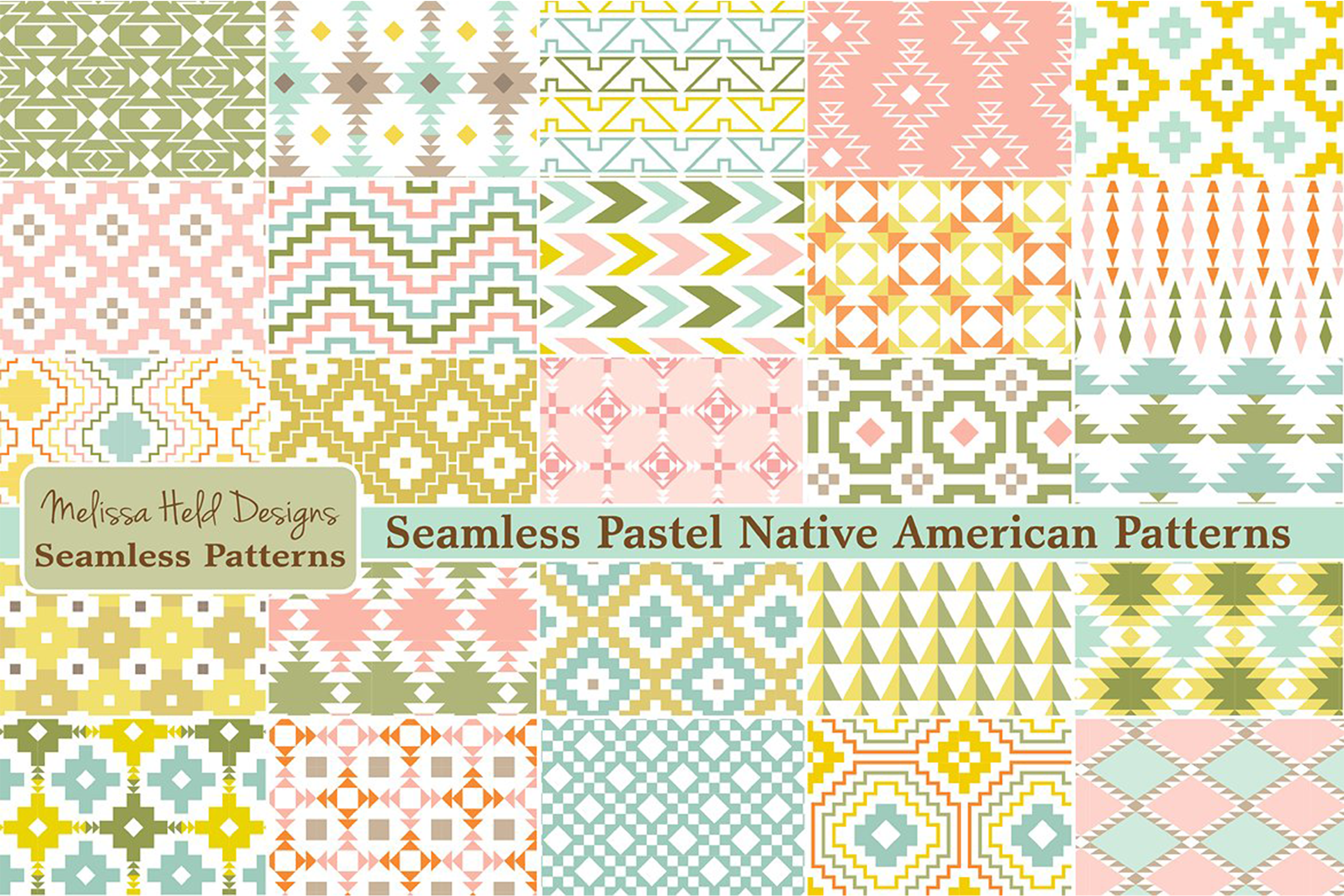 Seamless Pastel Native American Patterns example image 1