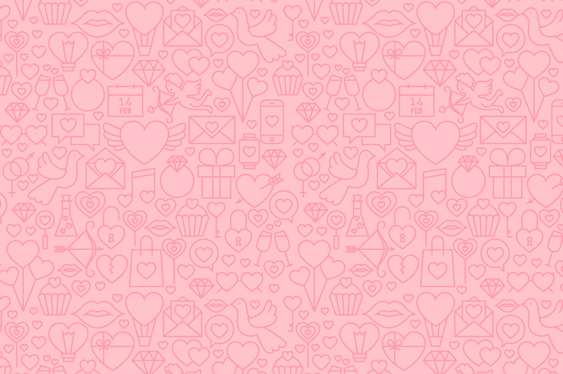 Valentine's Day Line Seamless Patterns example image 4