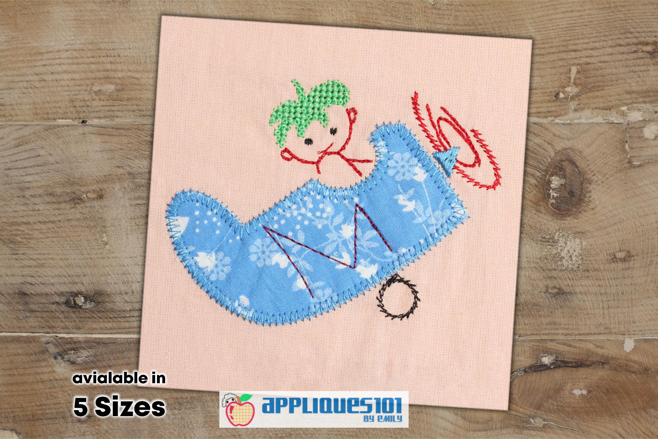 Cute Little Pilot Machine Embroidery Applique Design - Kids example image 1
