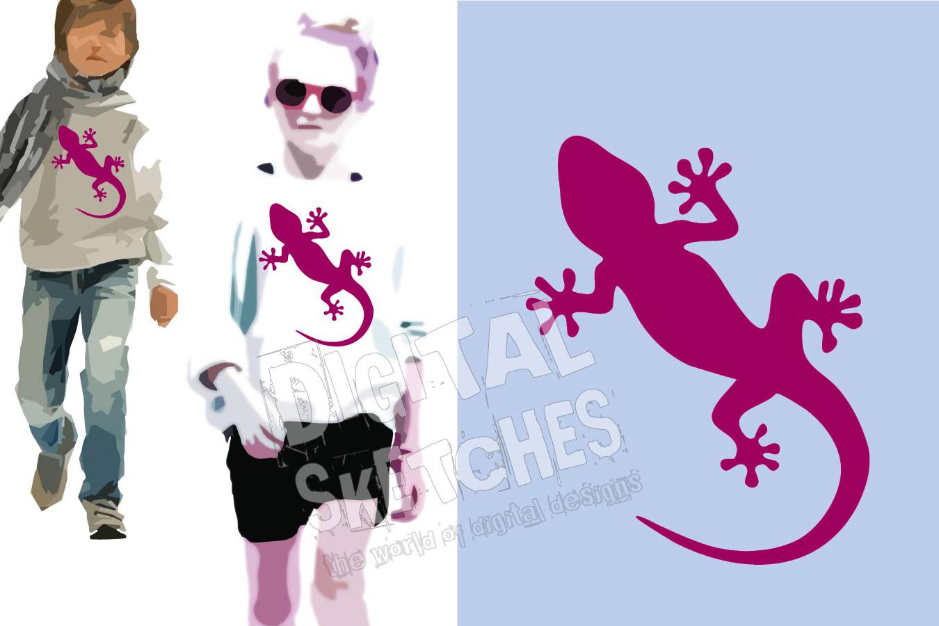 Gecko Cut File, Lizard Cut File, Salamander SVG, Vector example image 1