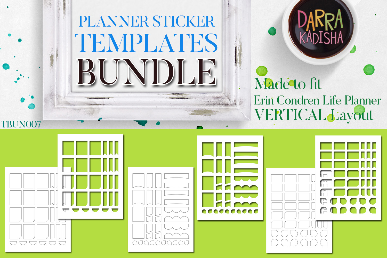 Planner Stickers Digital Kit - Templates Bundle Vol. 7 example image 1