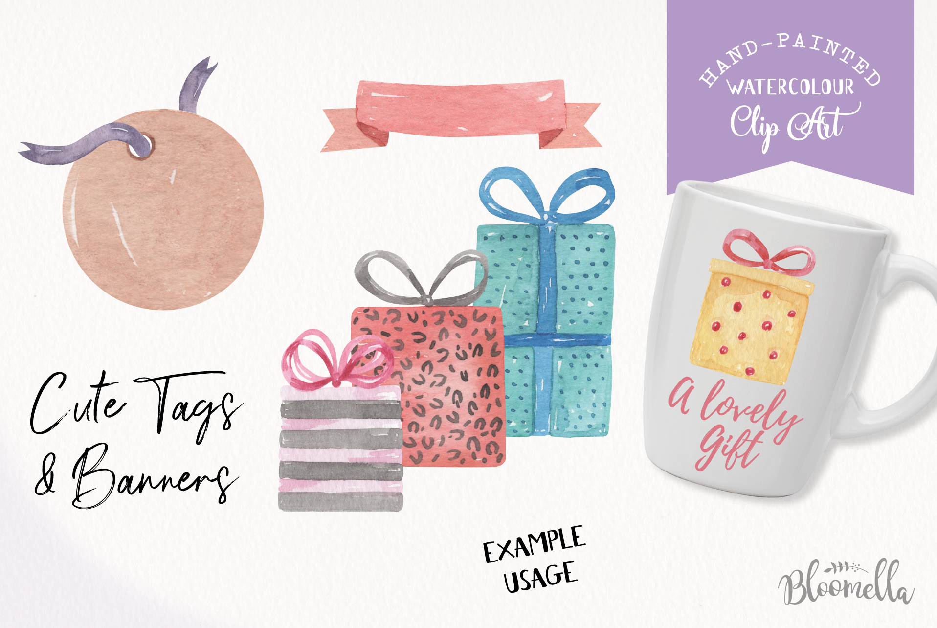 Watercolor Presents Gifts Clipart Elements Tags Banners Bows example image 6