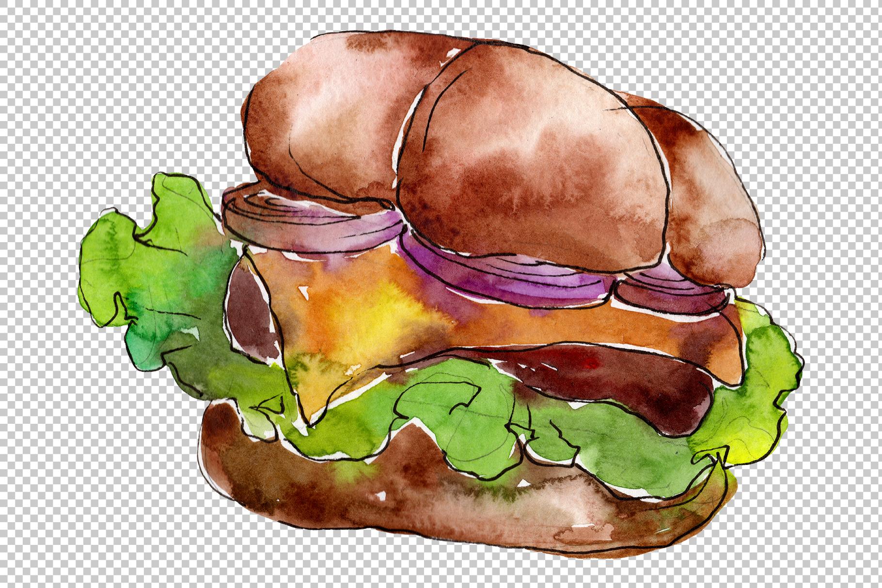European Hamburger Watercolor png example image 5