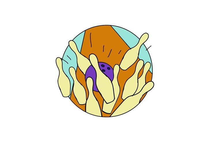 Ten Pin Bowling Strike Drawing example image 1