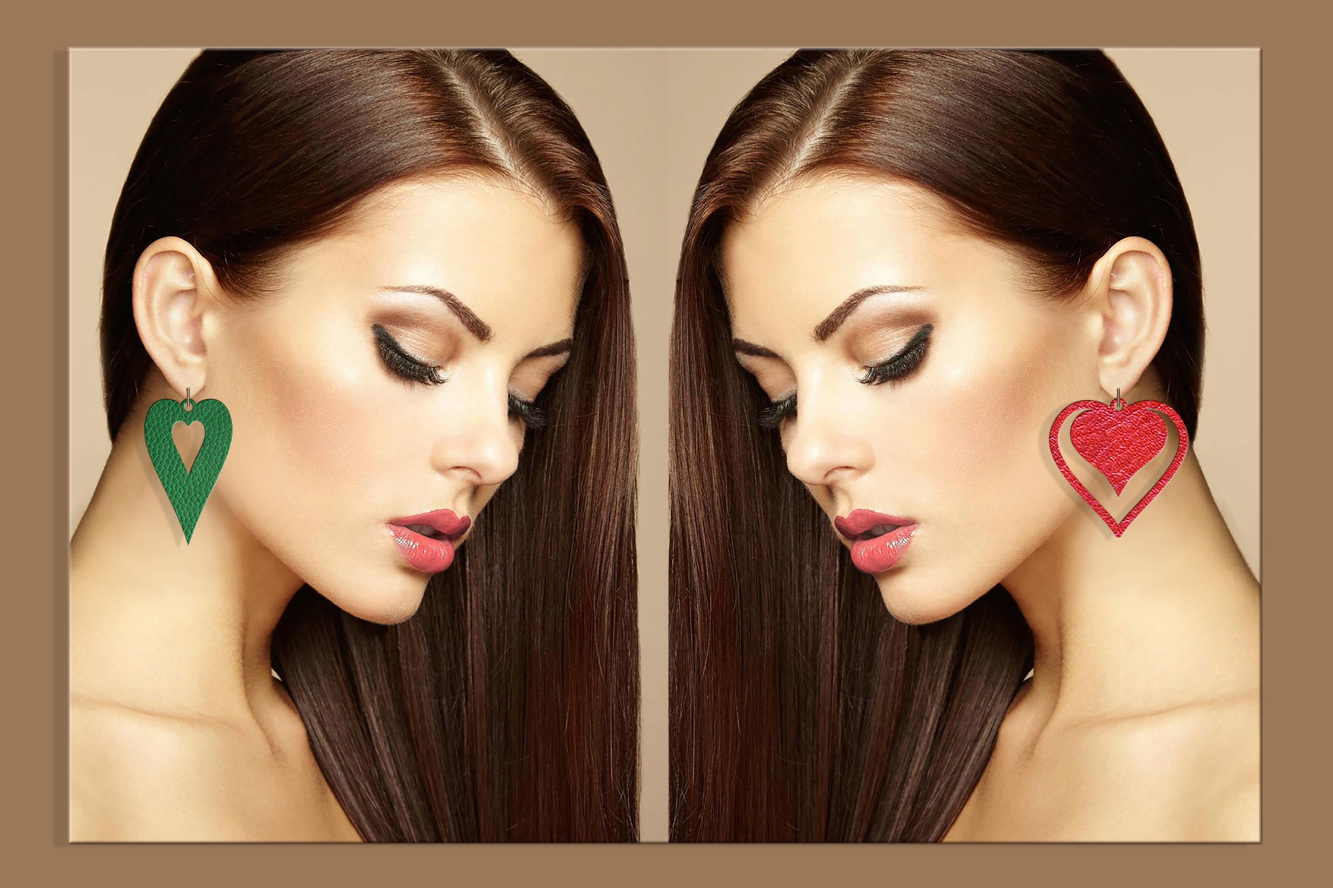 50 Leather earring bundle svg Valentine Love svg Heart example image 8