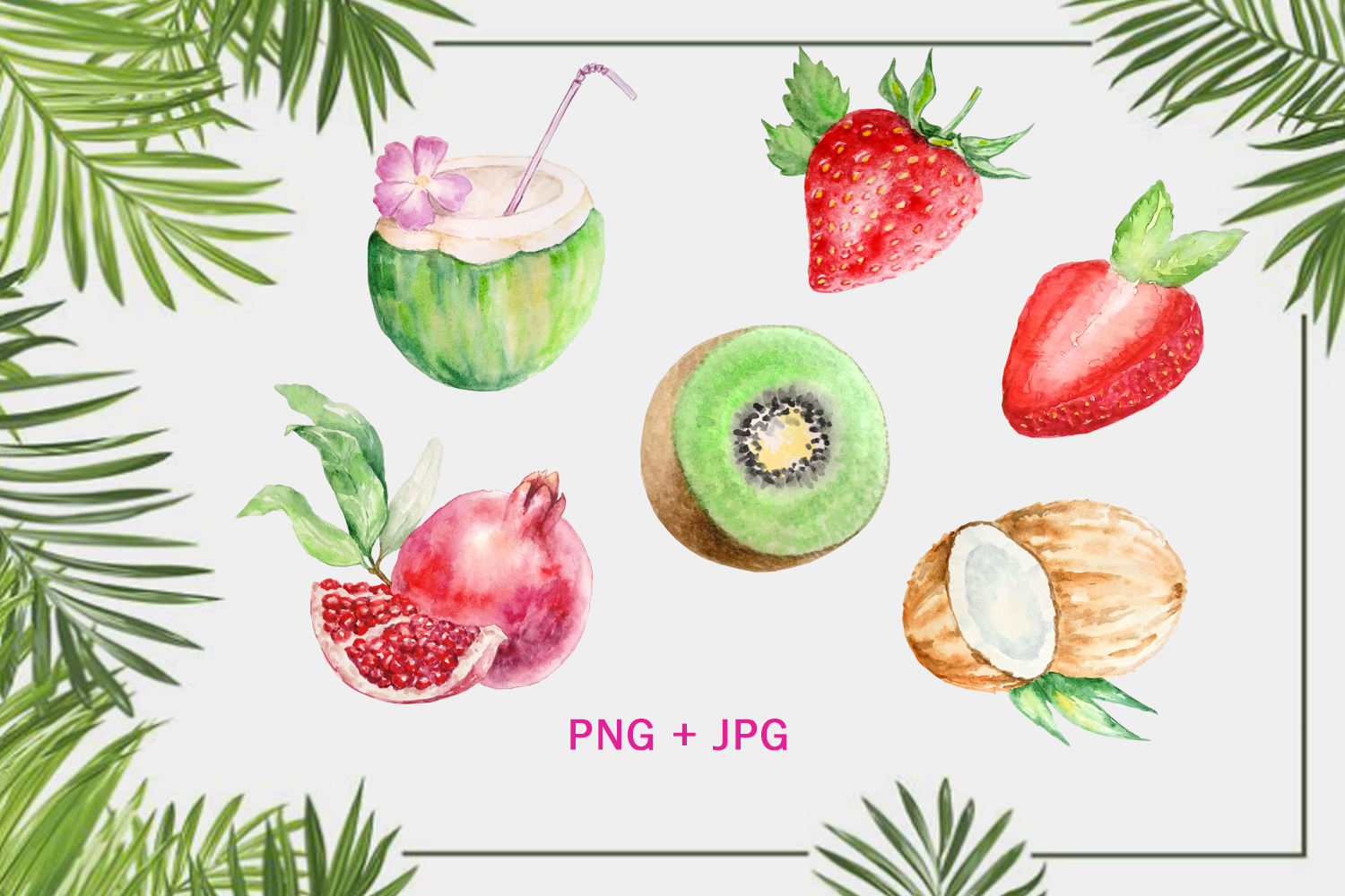 Watercolor Tropical Fruits, Flowers and Birds Clipart Set example image 2