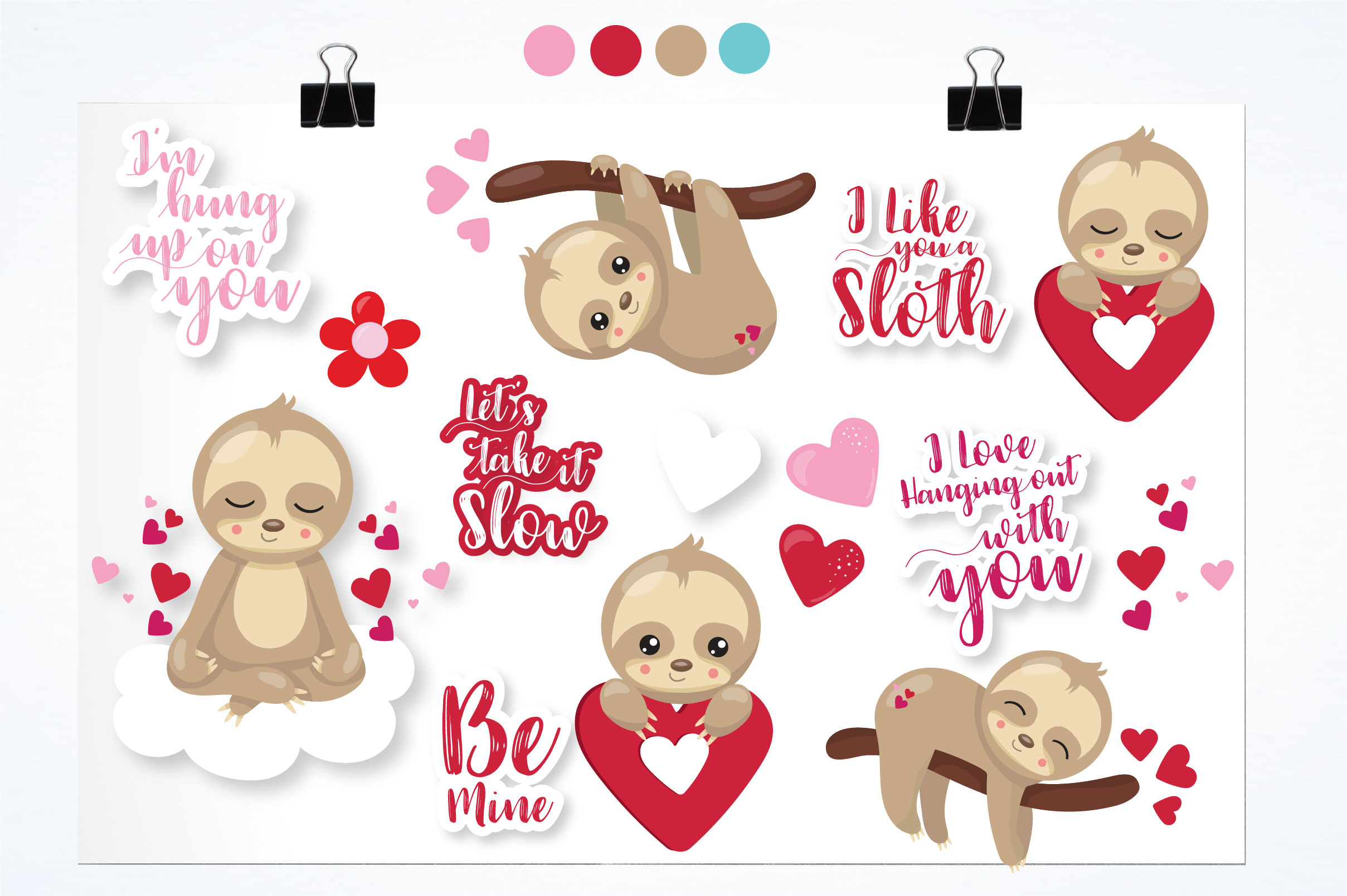 Valentine sloths graphics and illustrations example image 3