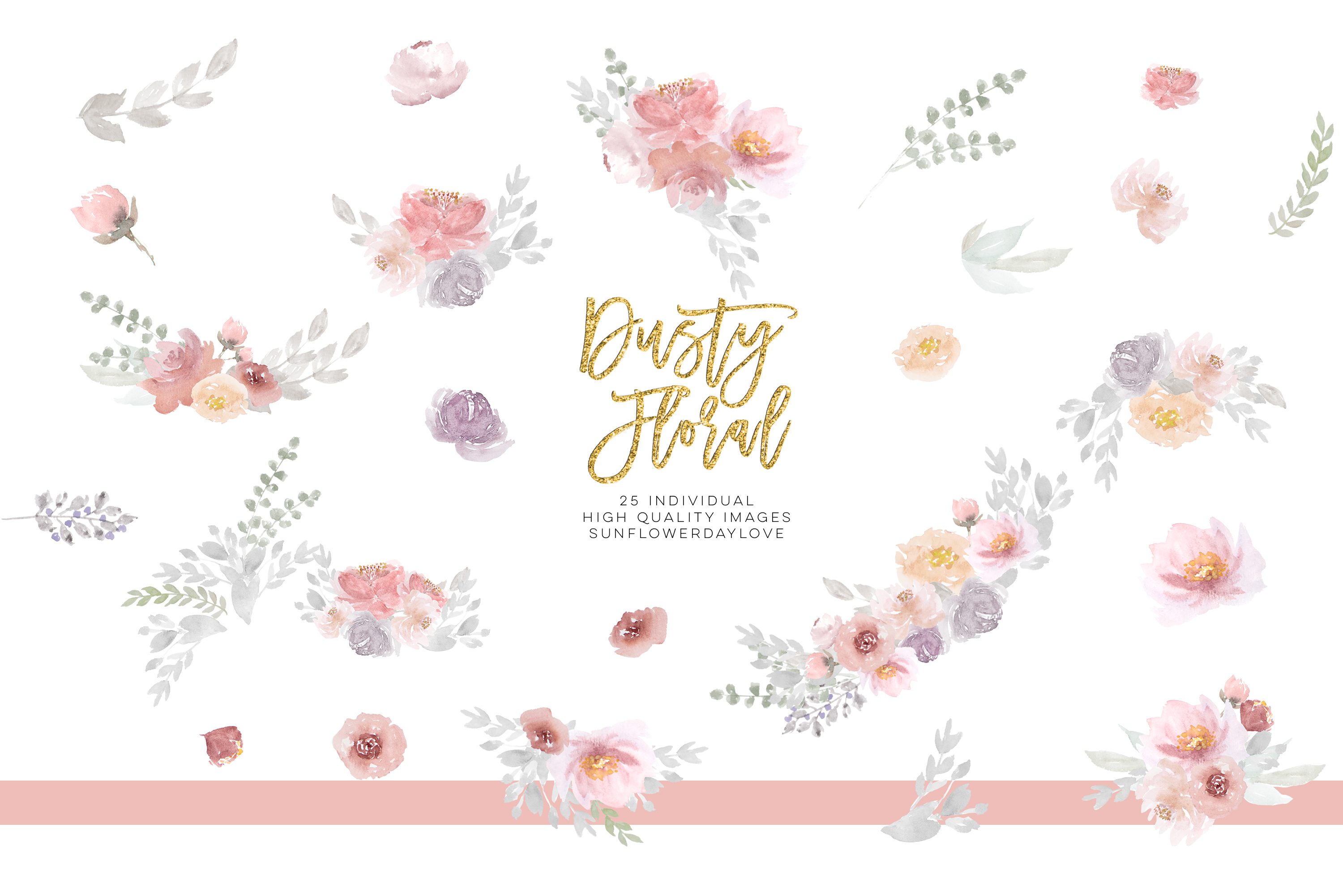 Dusty rose floral clipart, Wedding Invitation Clip Art example image 3