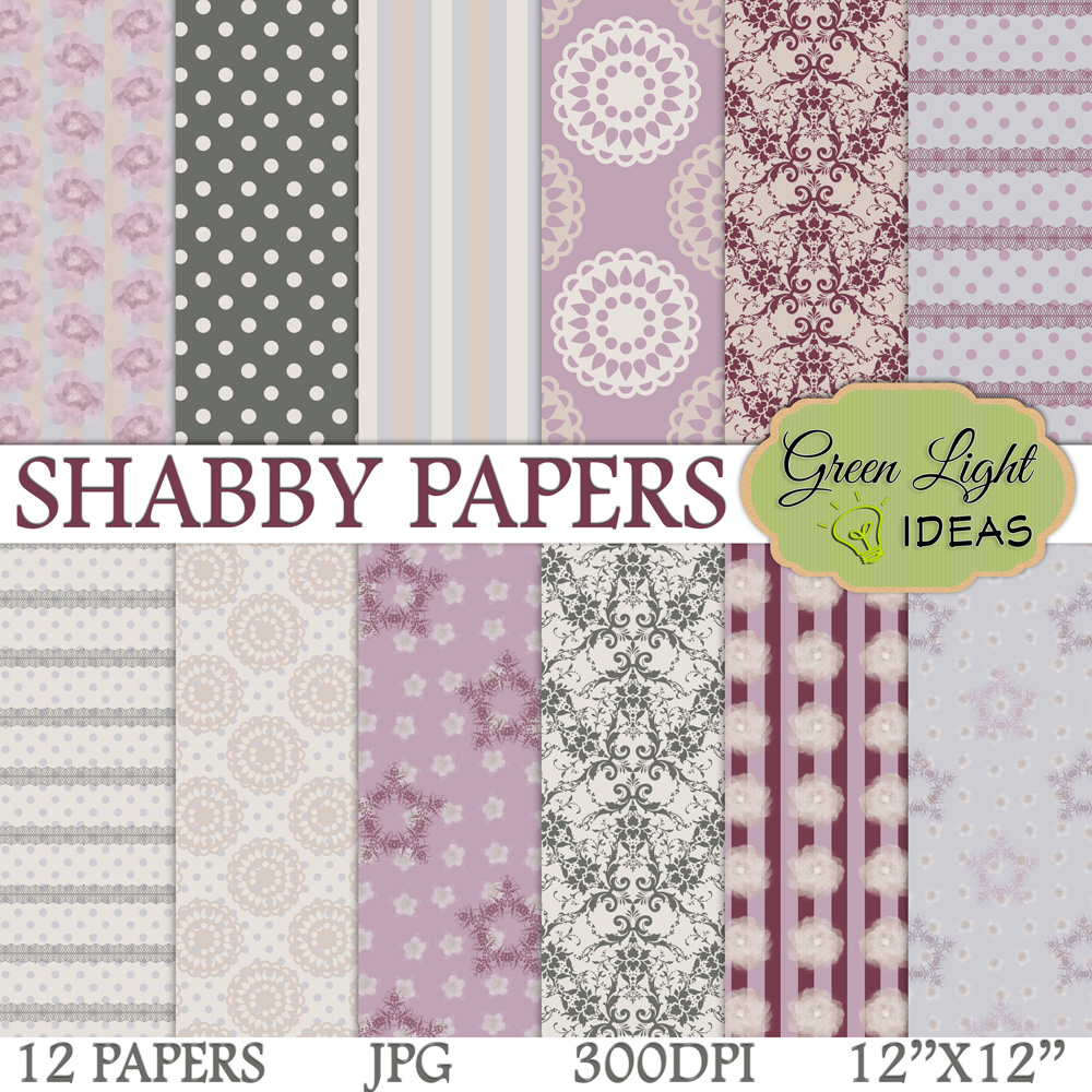 Shabby Digital Papers example image 1