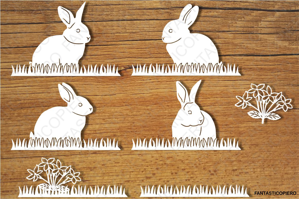 Bunny, Bunnies and Grass SVG files for Silhouette and Cricut example image 1