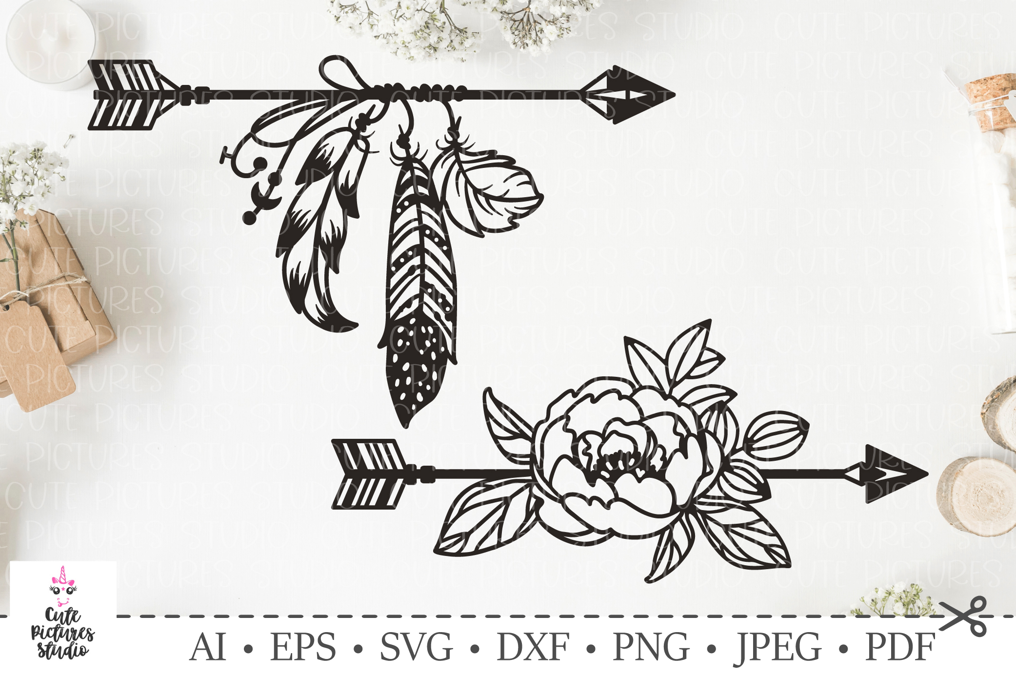 Set of arrows with feathers, flowers.SVG bundle. Boho style. example image 1