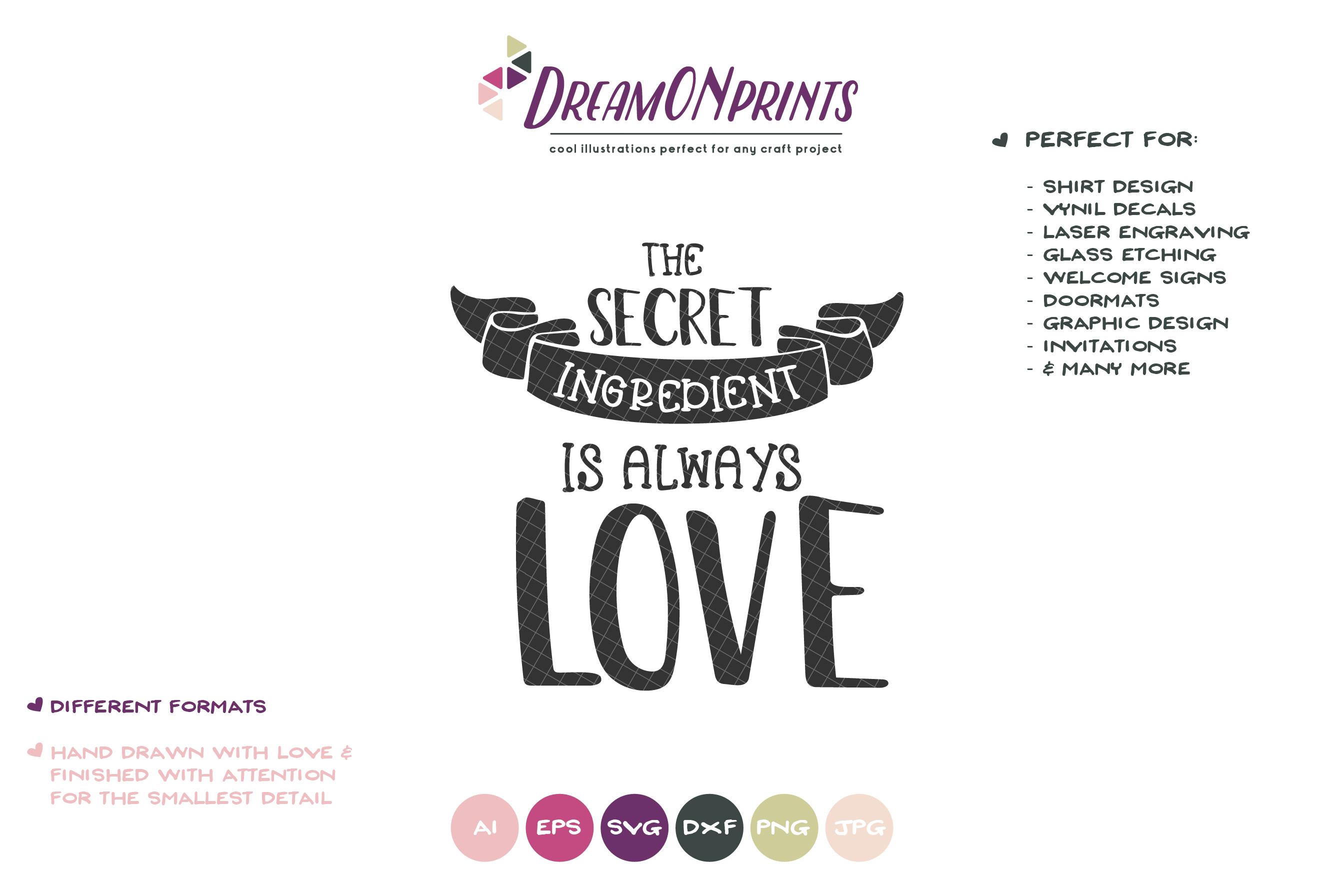 Secret Ingredient is Love | Kitchen Sign SVG | Sign Making example image 3