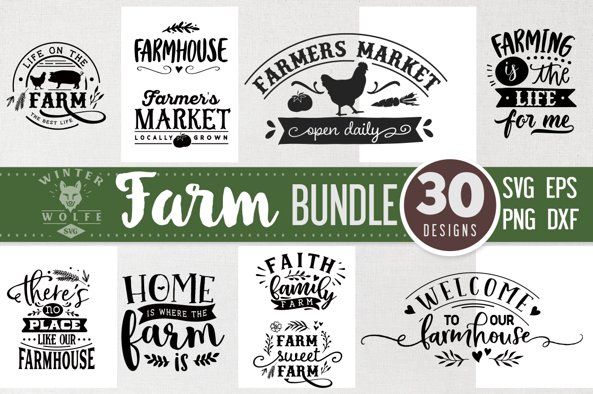 Farm Bundle 30 designs SVG EPS DXF PNG example image 3