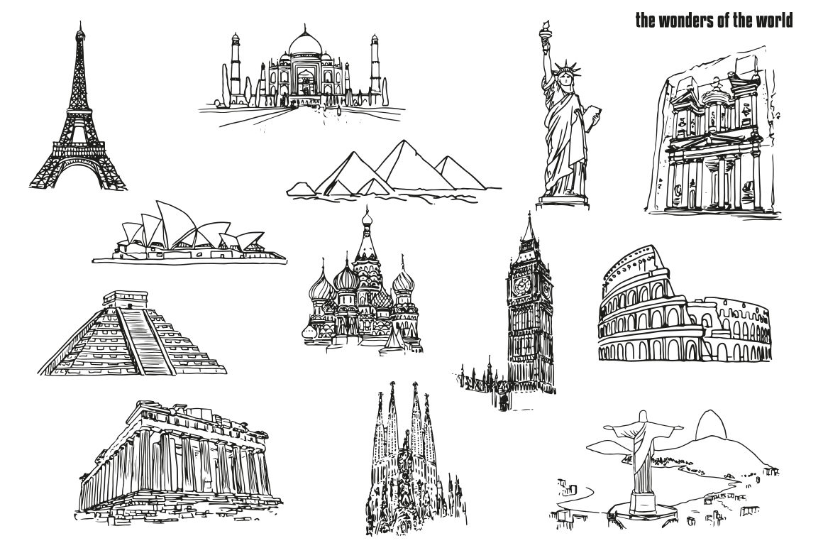 The Wonders of the World - Hand draw example image 2