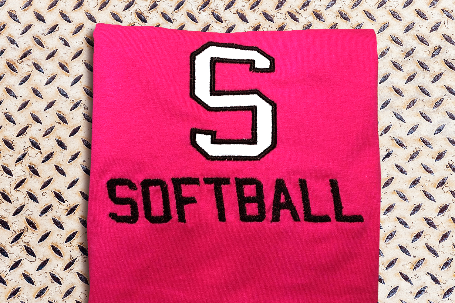 S for Softball Applique Embroidery Design example image 1