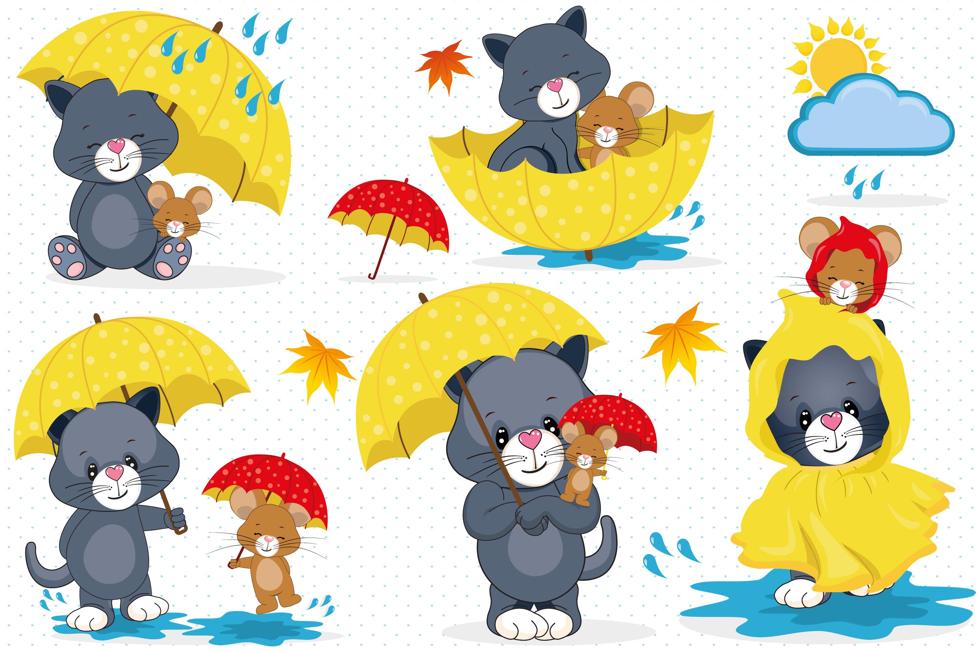 Rainy day clipart, Rainy day illustrations