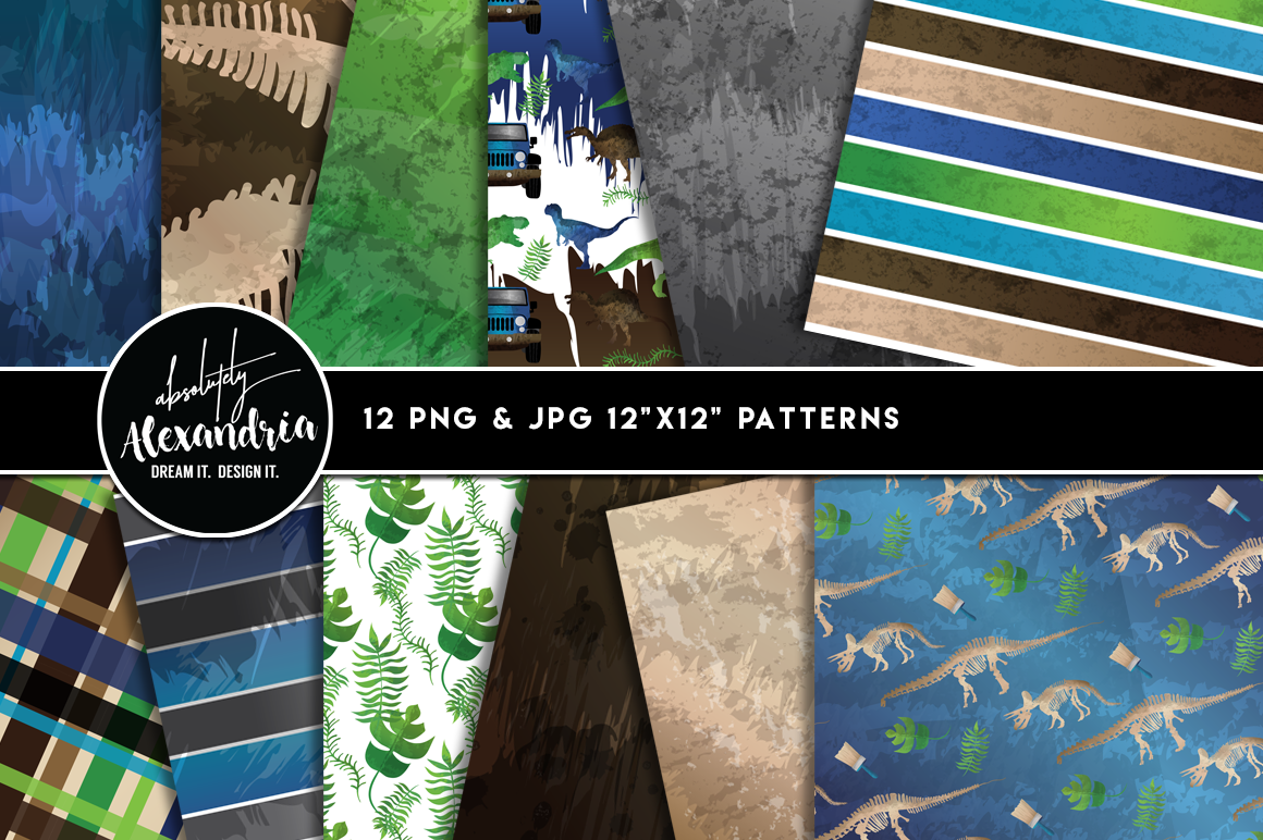 Jurassic Journey Clipart Graphics & Digital Paper Patterns Bundle example image 2