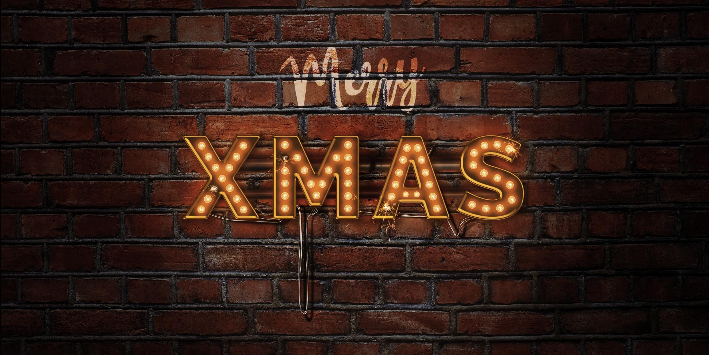 Lightbulb Merry Christmas Signs | 14-Image Bundle example image 3