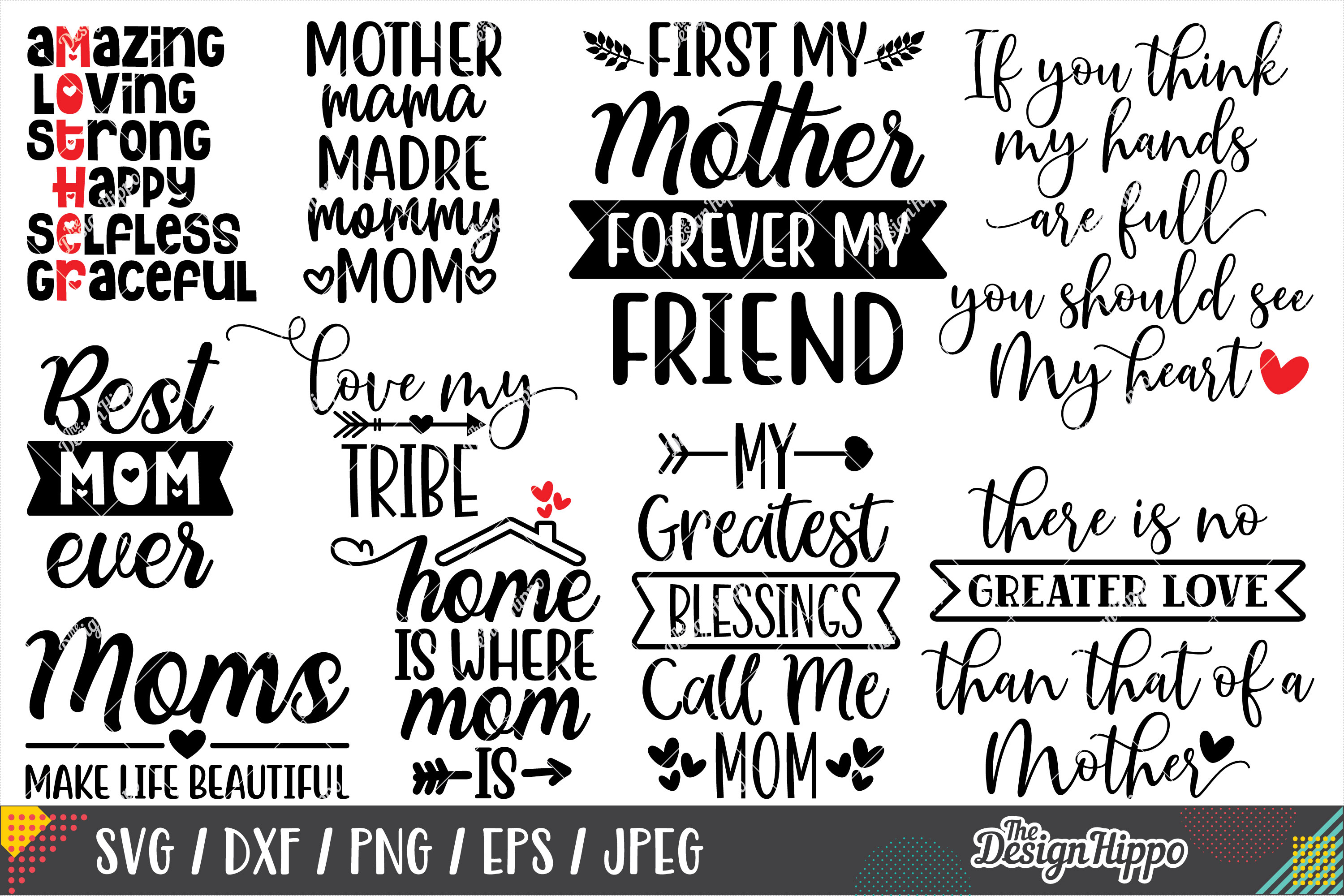 Mother's Day SVG Bundle, 20 Designs, SVG PNG DXF Cut Files example image 2
