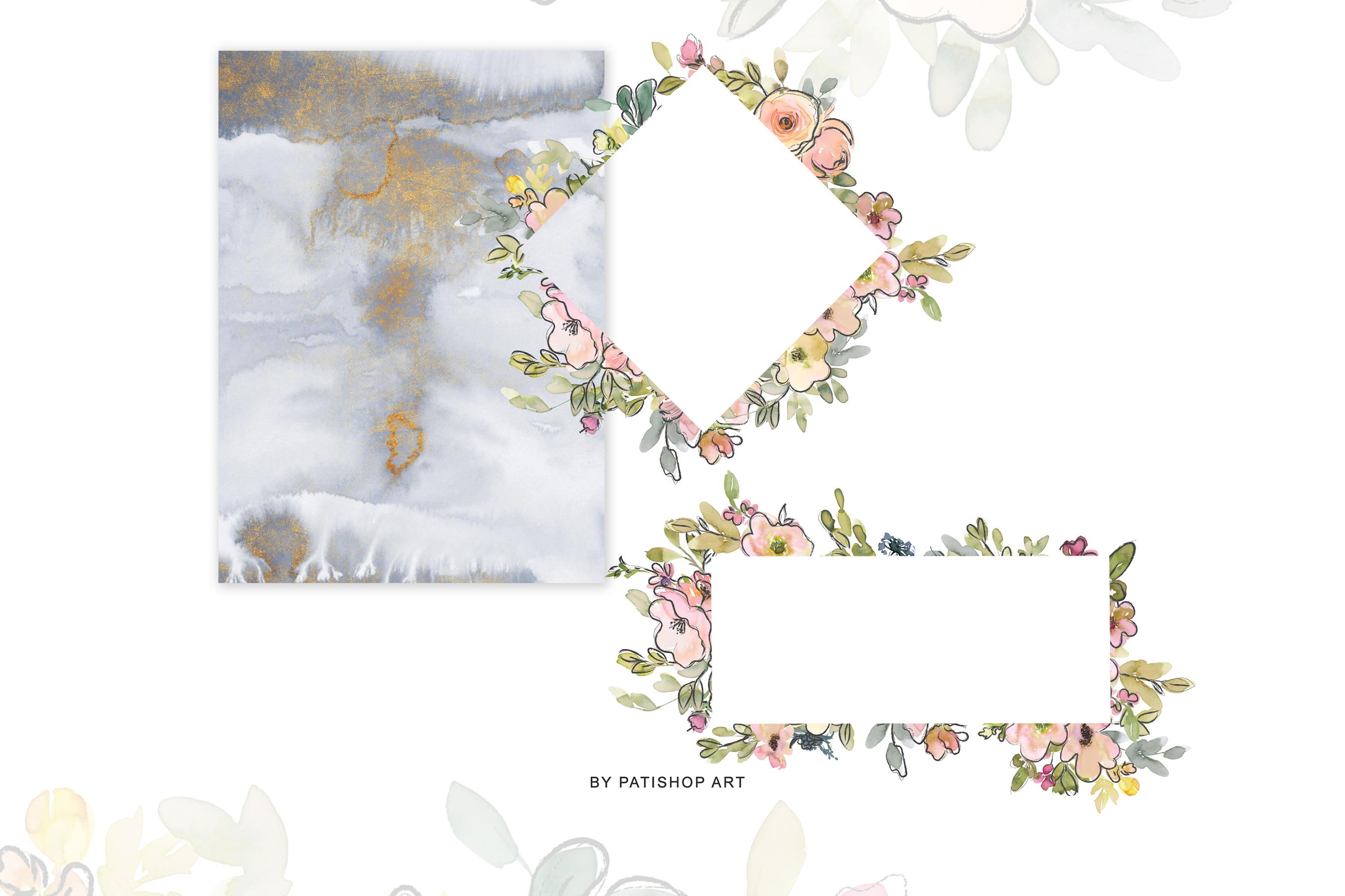 Watercolor Blush and Lemon Colors Floral Arrangements example image 7