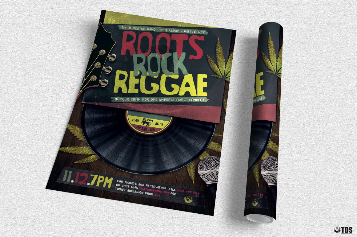 Roots Rock Reggae Flyer Template example image 4