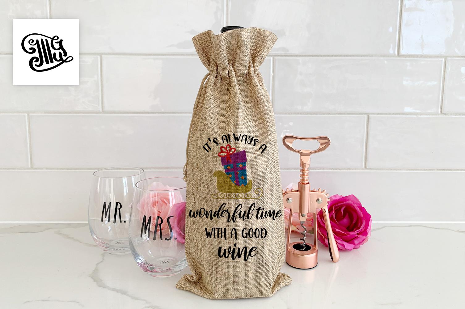 Christmas wine bag svg bundle example image 6