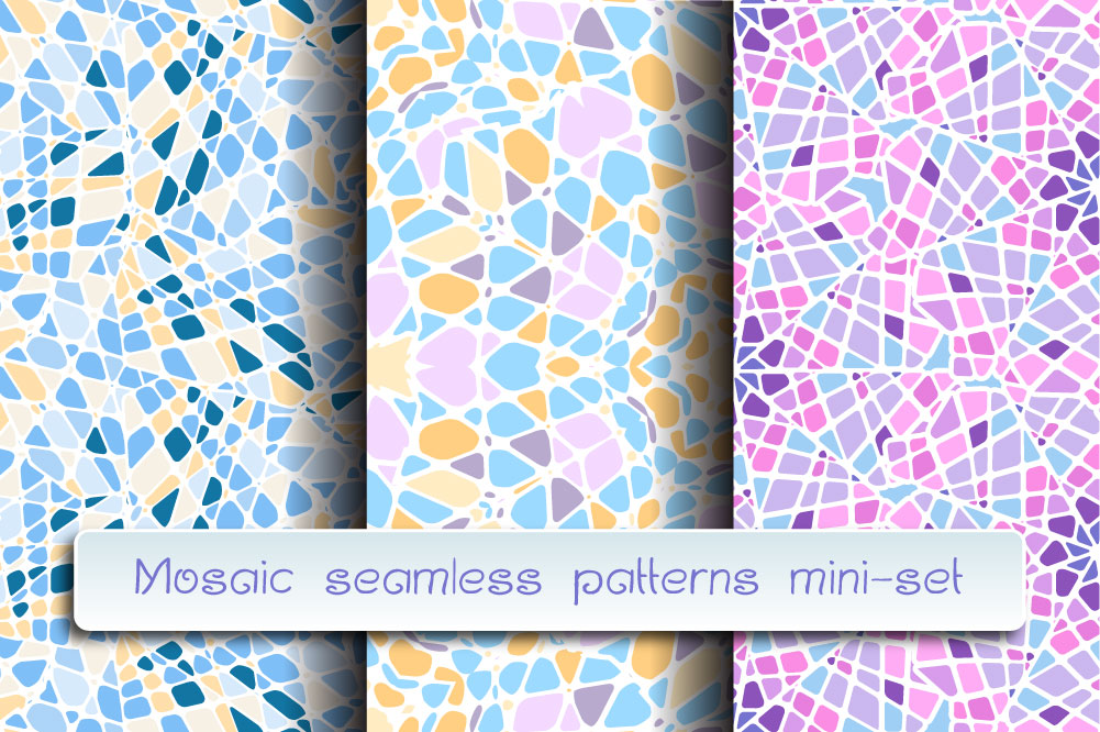 Mosaic seamless patterns. Mini-set. example image 1
