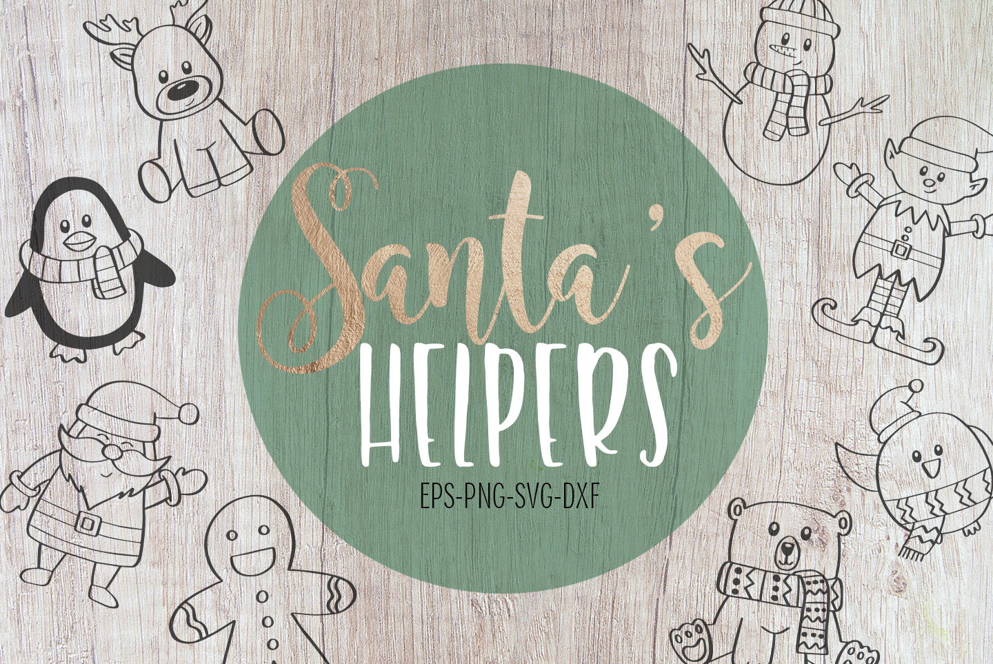 8 Christmas Characters, SVG, PNG, DXF, EPS example image 1
