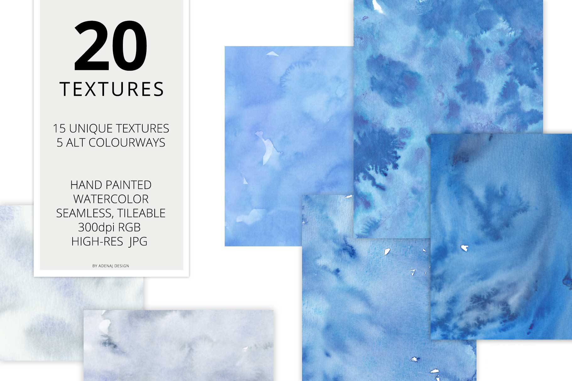 20 Huge Seamless Blue Watercolor Textures example image 2