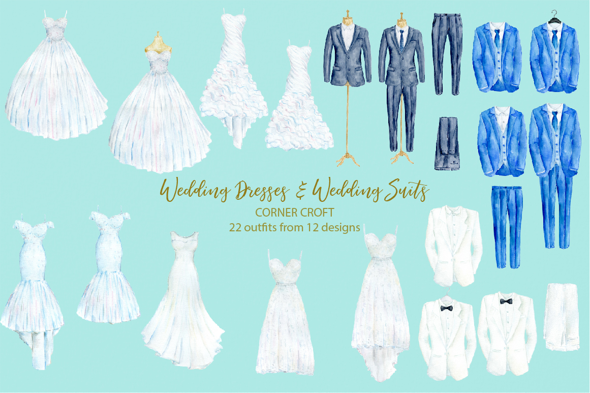 Watercolor wedding outfit on hangers and cloth hooks example image 2