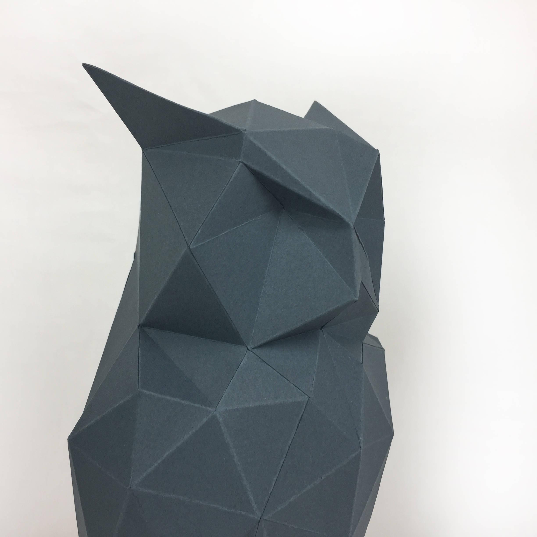 Night Owl, Papercraft Owl, Paper Owl, Animal Trophy, Loft Decor, Home Decor, 3D papercraft model, animal head, lowpoly DIY, hobby idea, DIY example image 8