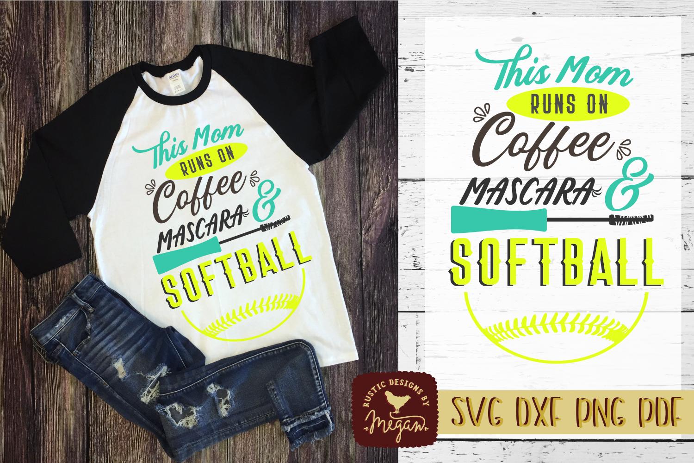 This Mom Runs On Coffee Mascara & Softball Sports Shirt SVG example image 1